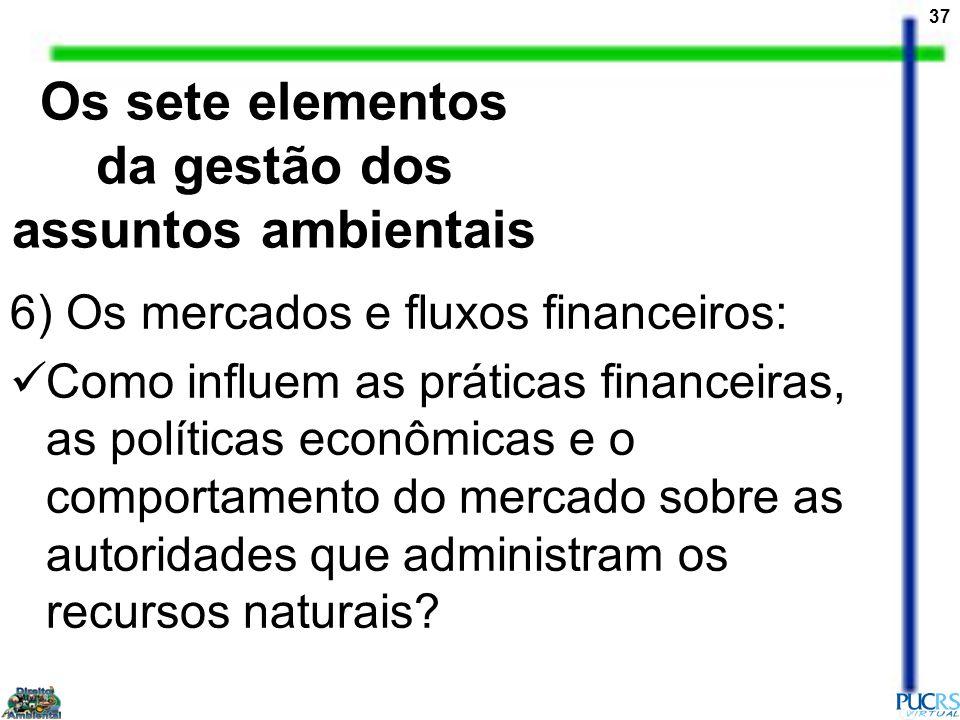 37 6) Os mercados e fluxos financeiros: Como influem as práticas financeiras, as políticas econômicas e o comportamento do mercado sobre as autoridade