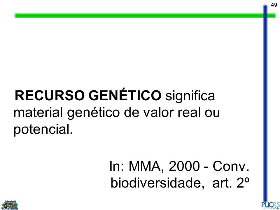 49 RECURSO GENÉTICO significa material genético de valor real ou potencial. In: MMA, 2000 - Conv. biodiversidade, art. 2º