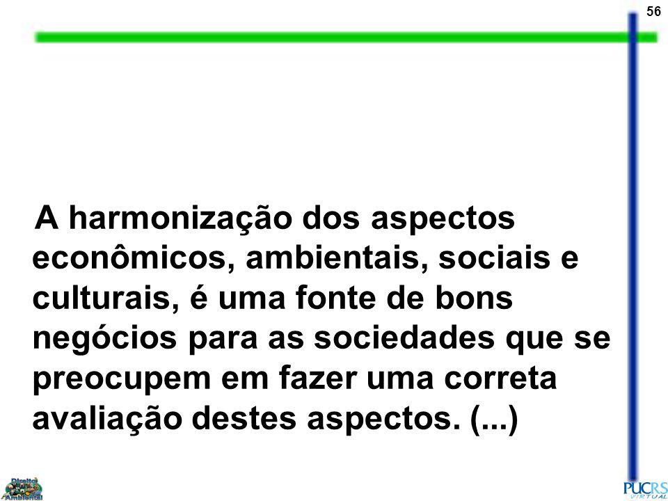 56 A harmonização dos aspectos econômicos, ambientais, sociais e culturais, é uma fonte de bons negócios para as sociedades que se preocupem em fazer