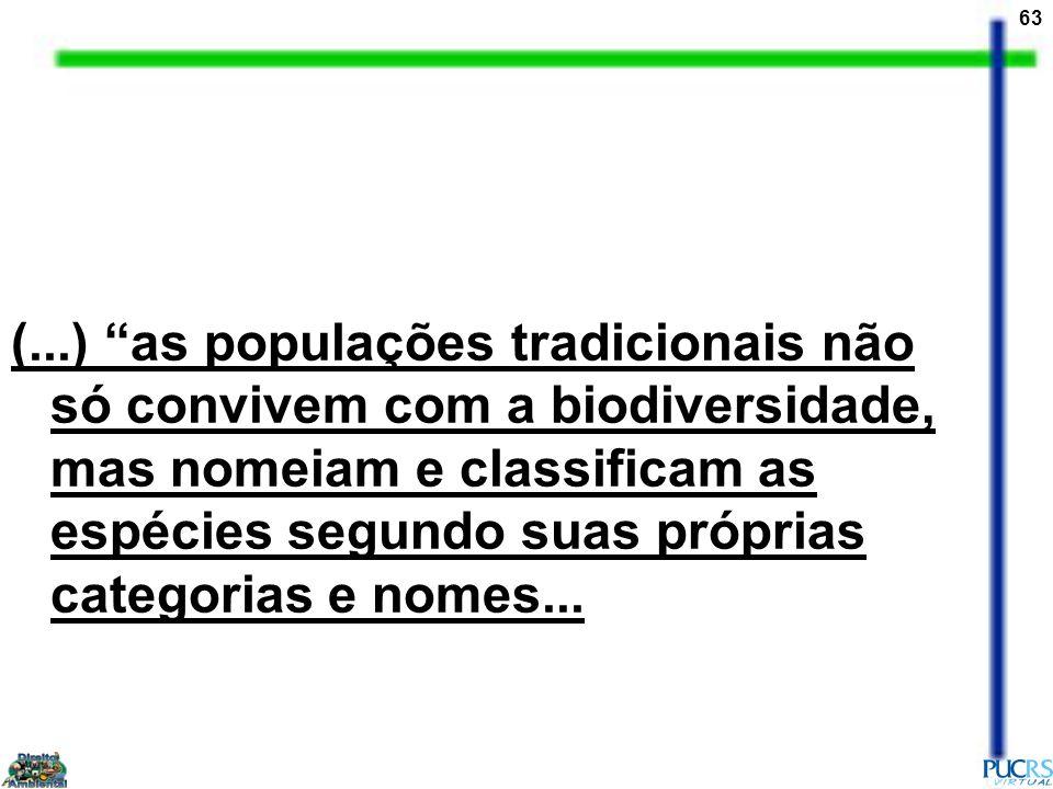 63 (...) as populações tradicionais não só convivem com a biodiversidade, mas nomeiam e classificam as espécies segundo suas próprias categorias e nom
