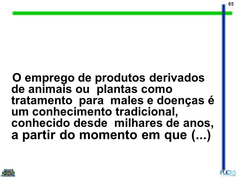 65 O emprego de produtos derivados de animais ou plantas como tratamento para males e doenças é um conhecimento tradicional, conhecido desde milhares