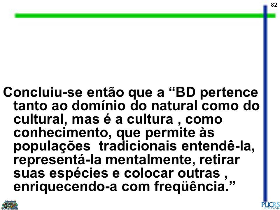 82 Concluiu-se então que a BD pertence tanto ao domínio do natural como do cultural, mas é a cultura, como conhecimento, que permite às populações tra