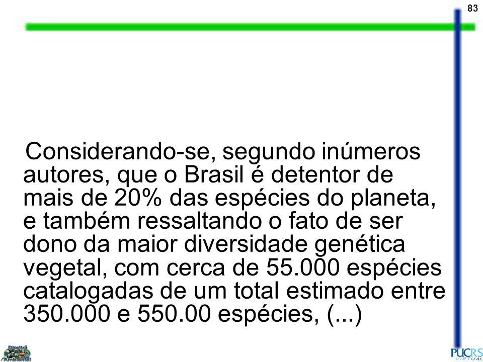 83 Considerando-se, segundo inúmeros autores, que o Brasil é detentor de mais de 20% das espécies do planeta, e também ressaltando o fato de ser dono