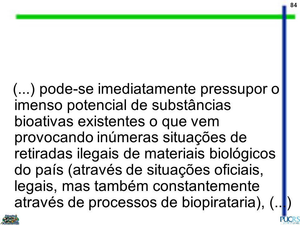 84 (...) pode-se imediatamente pressupor o imenso potencial de substâncias bioativas existentes o que vem provocando inúmeras situações de retiradas i