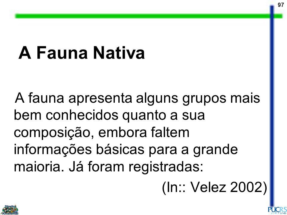 97 A Fauna Nativa A fauna apresenta alguns grupos mais bem conhecidos quanto a sua composição, embora faltem informações básicas para a grande maioria