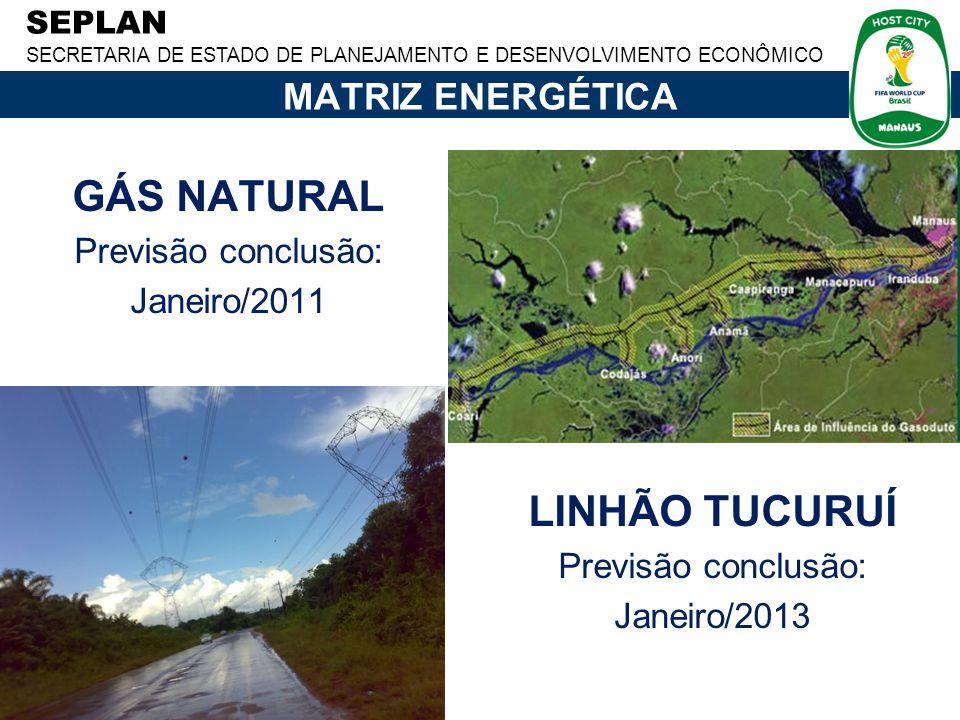 SEPLAN SECRETARIA DE ESTADO DE PLANEJAMENTO E DESENVOLVIMENTO ECONÔMICO MATRIZ ENERGÉTICA LINHÃO TUCURUÍ Previsão conclusão: Janeiro/2013 GÁS NATURAL