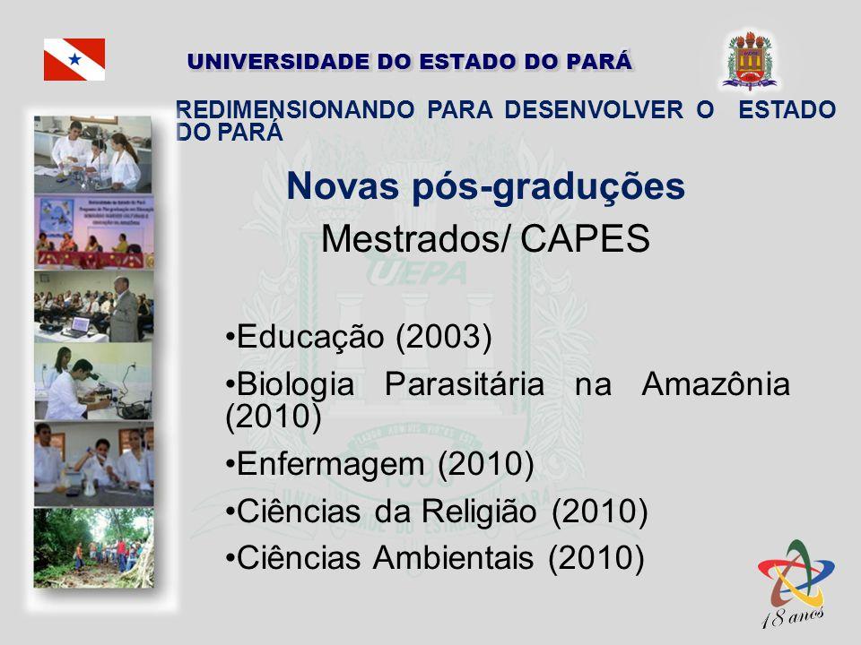 Novas pós-graduções Mestrados/ CAPES Educação (2003) Biologia Parasitária na Amazônia (2010) Enfermagem (2010) Ciências da Religião (2010) Ciências Am