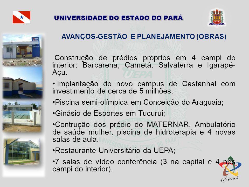 AVANÇOS-GESTÃO E PLANEJAMENTO (OBRAS) Construção de prédios próprios em 4 campi do interior: Barcarena, Cametá, Salvaterra e Igarapé- Açu. Implantação