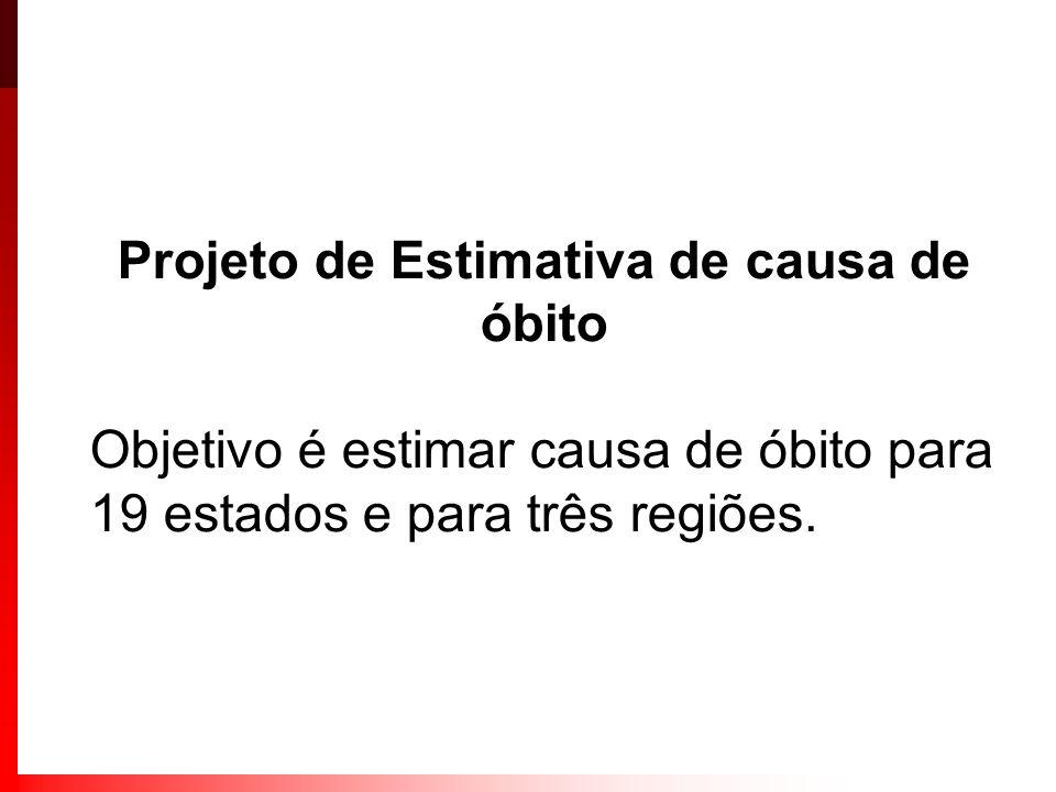 Projeto de Estimativa de causa de óbito Objetivo é estimar causa de óbito para 19 estados e para três regiões.