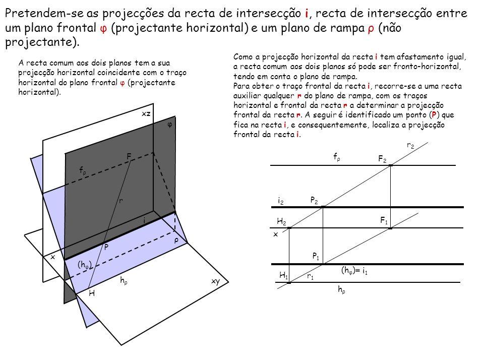 Pretendem-se as projecções da recta de intersecção i, recta de intersecção entre um plano frontal φ (projectante horizontal) e um plano de rampa ρ (nã