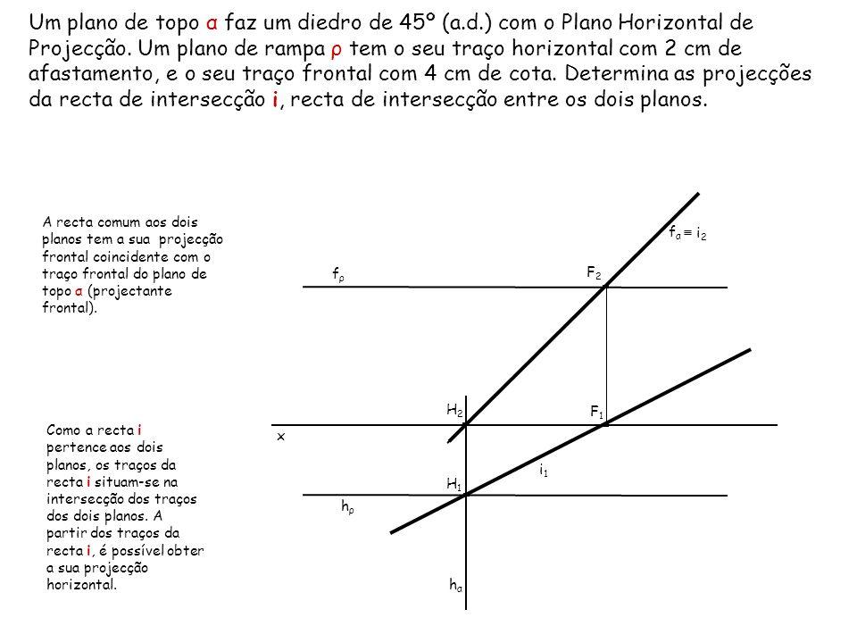 Um plano de topo α faz um diedro de 45º (a.d.) com o Plano Horizontal de Projecção. Um plano de rampa ρ tem o seu traço horizontal com 2 cm de afastam