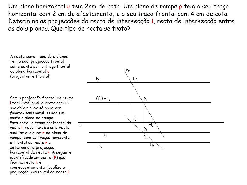 Um plano horizontal υ tem 2cm de cota. Um plano de rampa ρ tem o seu traço horizontal com 2 cm de afastamento, e o seu traço frontal com 4 cm de cota.