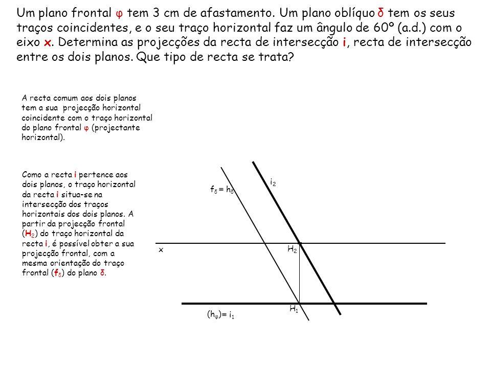 Um plano frontal φ tem 3 cm de afastamento. Um plano oblíquo δ tem os seus traços coincidentes, e o seu traço horizontal faz um ângulo de 60º (a.d.) c