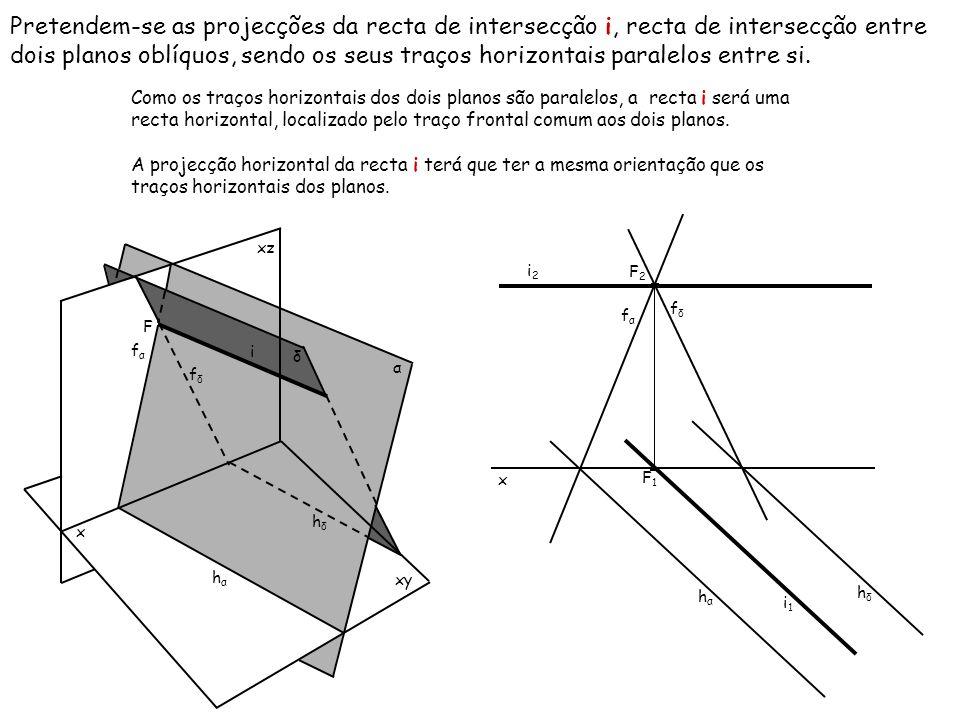 Pretendem-se as projecções da recta de intersecção i, recta de intersecção entre dois planos oblíquos, sendo os seus traços horizontais paralelos entr