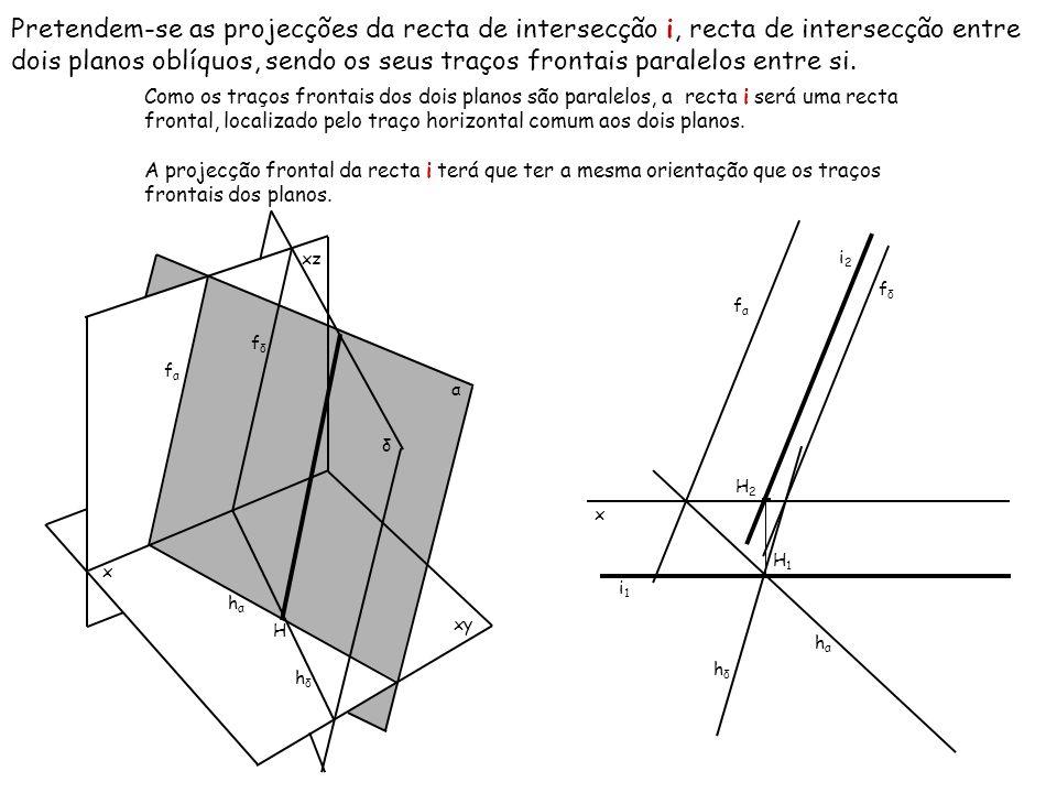 Pretendem-se as projecções da recta de intersecção i, recta de intersecção entre dois planos oblíquos, sendo os seus traços frontais paralelos entre s