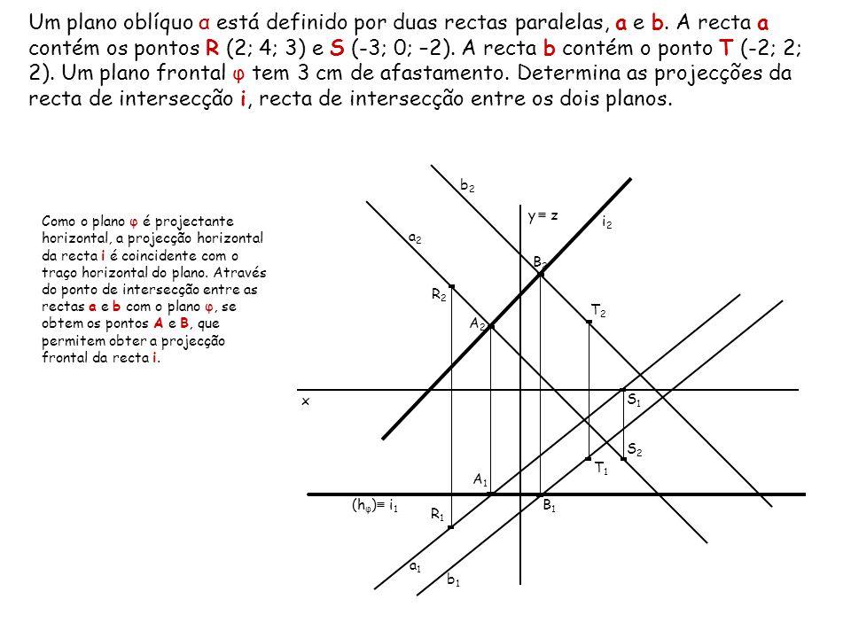 Um plano oblíquo α está definido por duas rectas paralelas, a e b. A recta a contém os pontos R (2; 4; 3) e S (-3; 0; –2). A recta b contém o ponto T