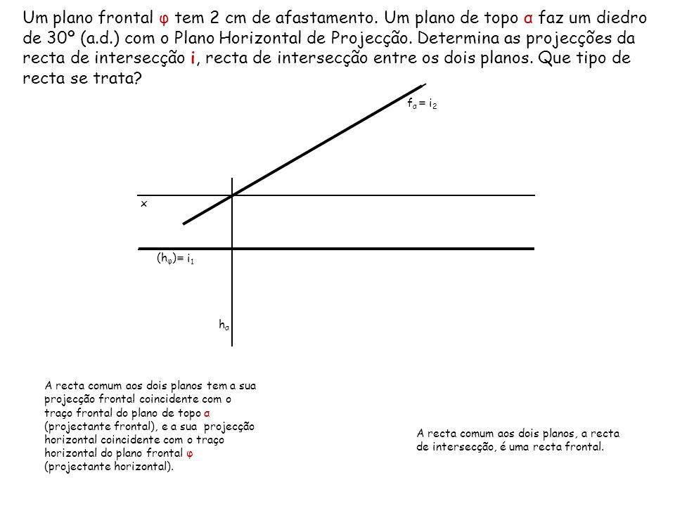 Um plano frontal φ tem 2 cm de afastamento. Um plano de topo α faz um diedro de 30º (a.d.) com o Plano Horizontal de Projecção. Determina as projecçõe