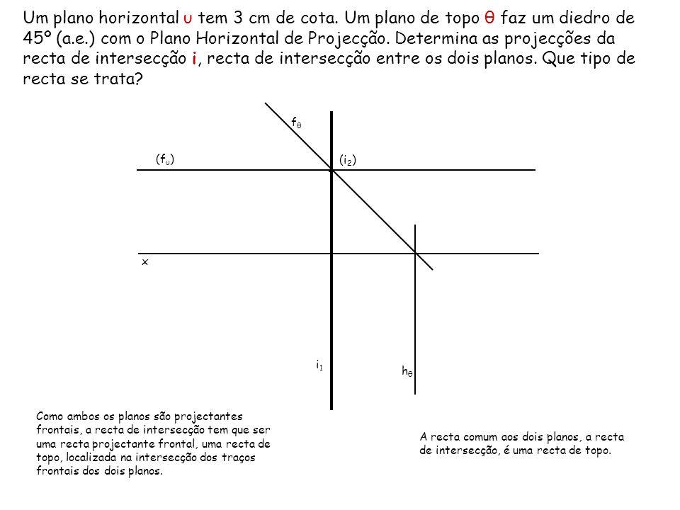 Um plano horizontal υ tem 3 cm de cota. Um plano de topo θ faz um diedro de 45º (a.e.) com o Plano Horizontal de Projecção. Determina as projecções da
