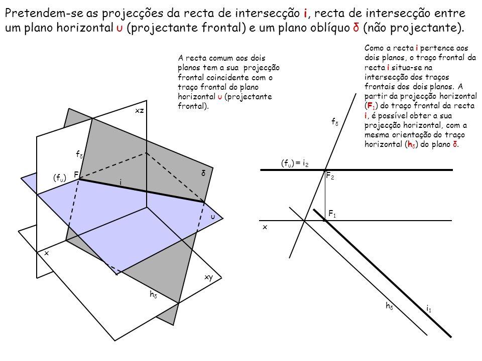 Pretendem-se as projecções da recta de intersecção i, recta de intersecção entre um plano horizontal υ (projectante frontal) e um plano oblíquo δ (não