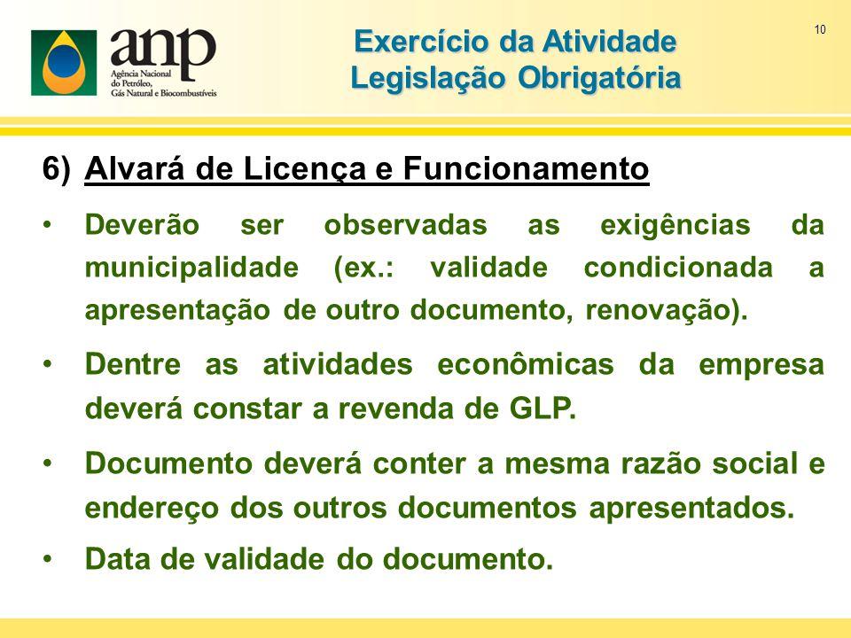 10 Exercício da Atividade Legislação Obrigatória 6)Alvará de Licença e Funcionamento Deverão ser observadas as exigências da municipalidade (ex.: vali