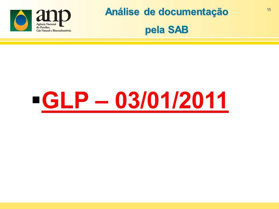 15 GLP – 03/01/2011 Análise de documentação pela SAB