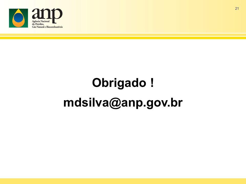 21 Obrigado ! mdsilva@anp.gov.br