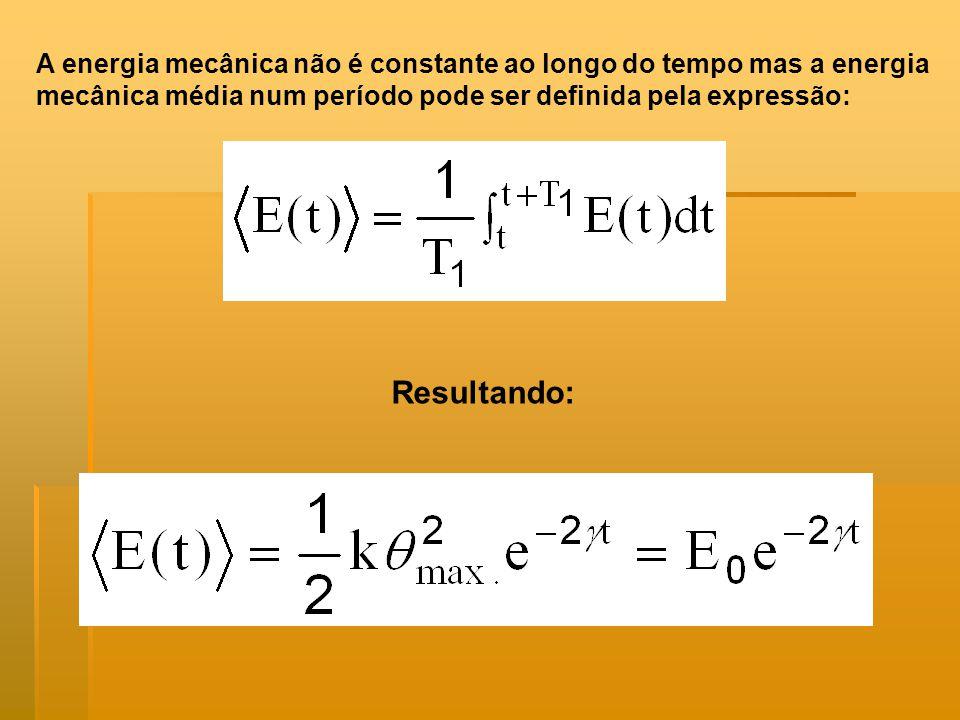 A energia mecânica não é constante ao longo do tempo mas a energia mecânica média num período pode ser definida pela expressão: Resultando: