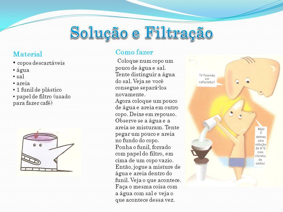 Material copos descartáveis água sal areia 1 funil de plástico papel de filtro (usado para fazer café) Como fazer Coloque num copo um pouco de água e