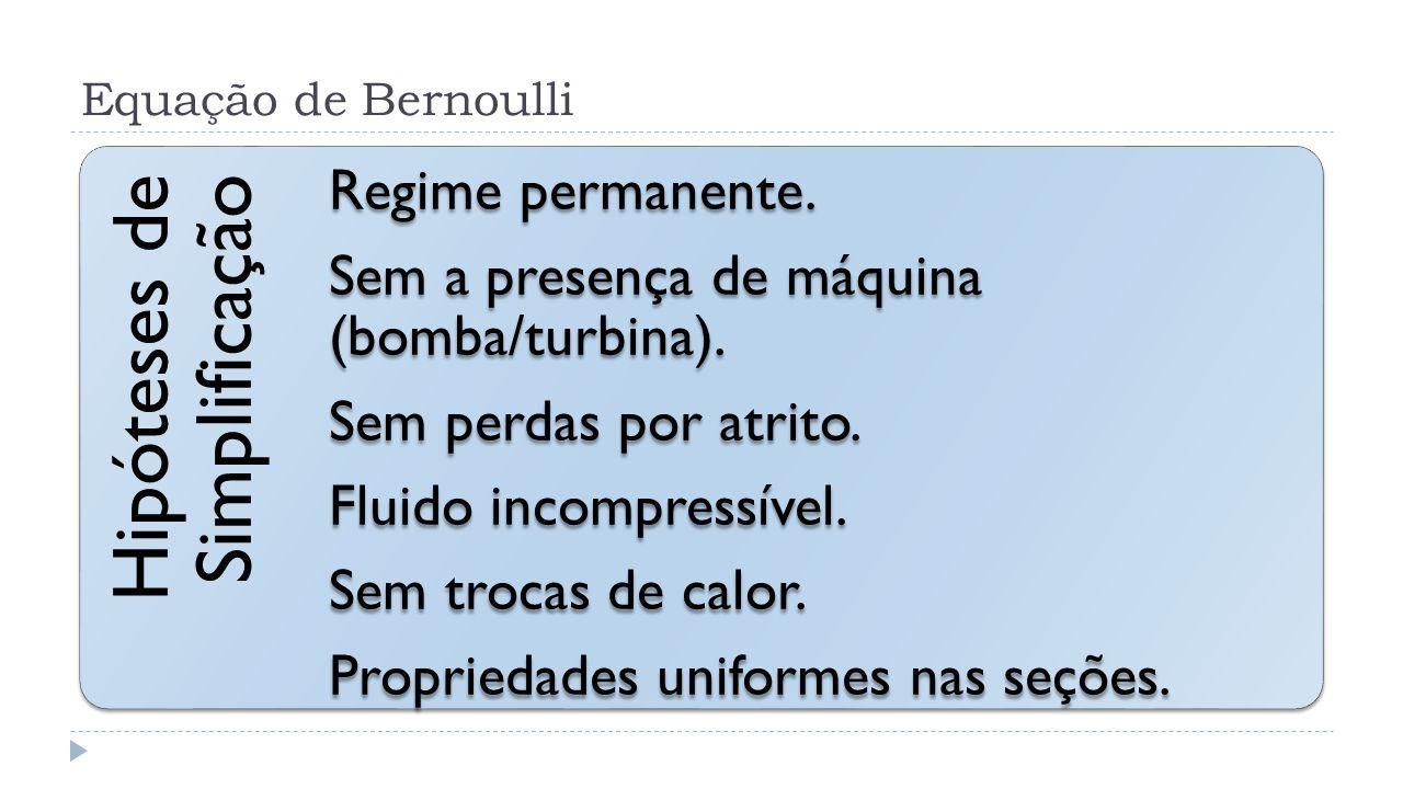 Equação de Bernoulli Hipóteses de Simplificação Regime permanente. Sem a presença de máquina (bomba/turbina). Sem perdas por atrito. Fluido incompress