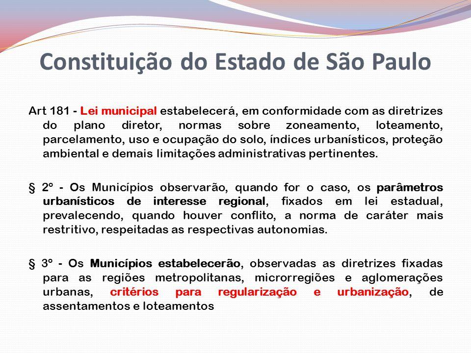 Constituição do Estado de São Paulo Art 181 - Lei municipal estabelecerá, em conformidade com as diretrizes do plano diretor, normas sobre zoneamento, loteamento, parcelamento, uso e ocupação do solo, índices urbanísticos, proteção ambiental e demais limitações administrativas pertinentes.
