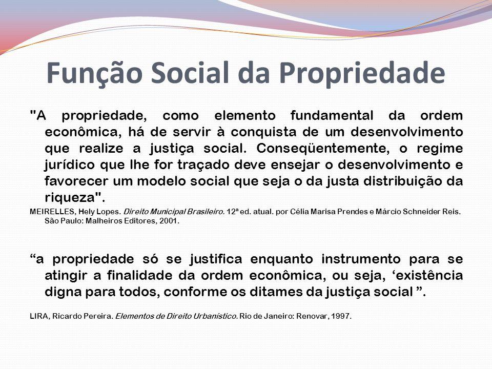 Função Social da Propriedade A propriedade, como elemento fundamental da ordem econômica, há de servir à conquista de um desenvolvimento que realize a justiça social.