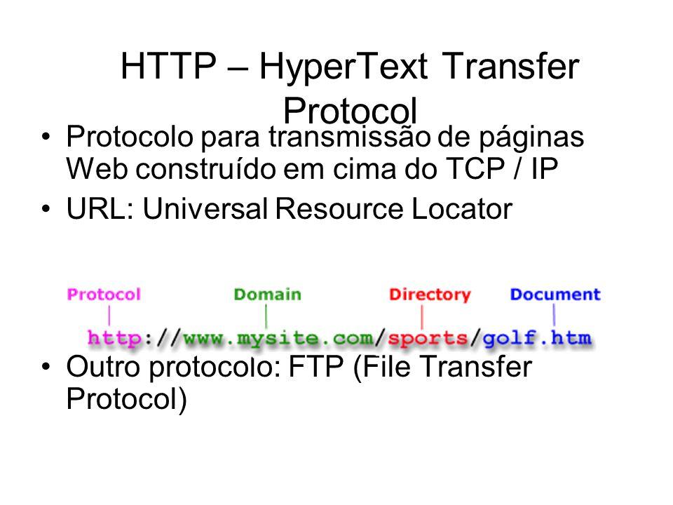 HTTP – HyperText Transfer Protocol Protocolo para transmissão de páginas Web construído em cima do TCP / IP URL: Universal Resource Locator Outro protocolo: FTP (File Transfer Protocol)