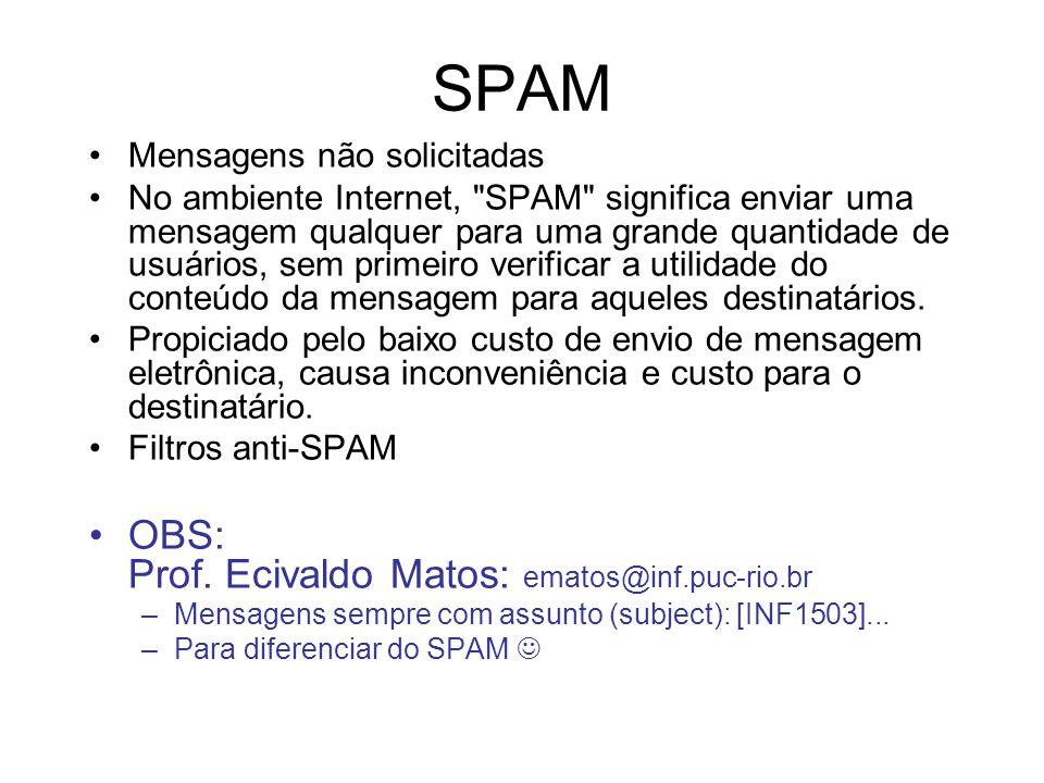 SPAM Mensagens não solicitadas No ambiente Internet, SPAM significa enviar uma mensagem qualquer para uma grande quantidade de usuários, sem primeiro verificar a utilidade do conteúdo da mensagem para aqueles destinatários.