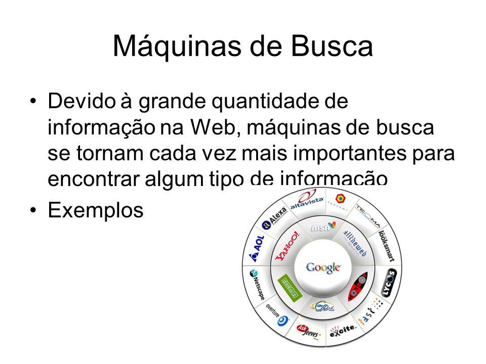 Máquinas de Busca Devido à grande quantidade de informação na Web, máquinas de busca se tornam cada vez mais importantes para encontrar algum tipo de