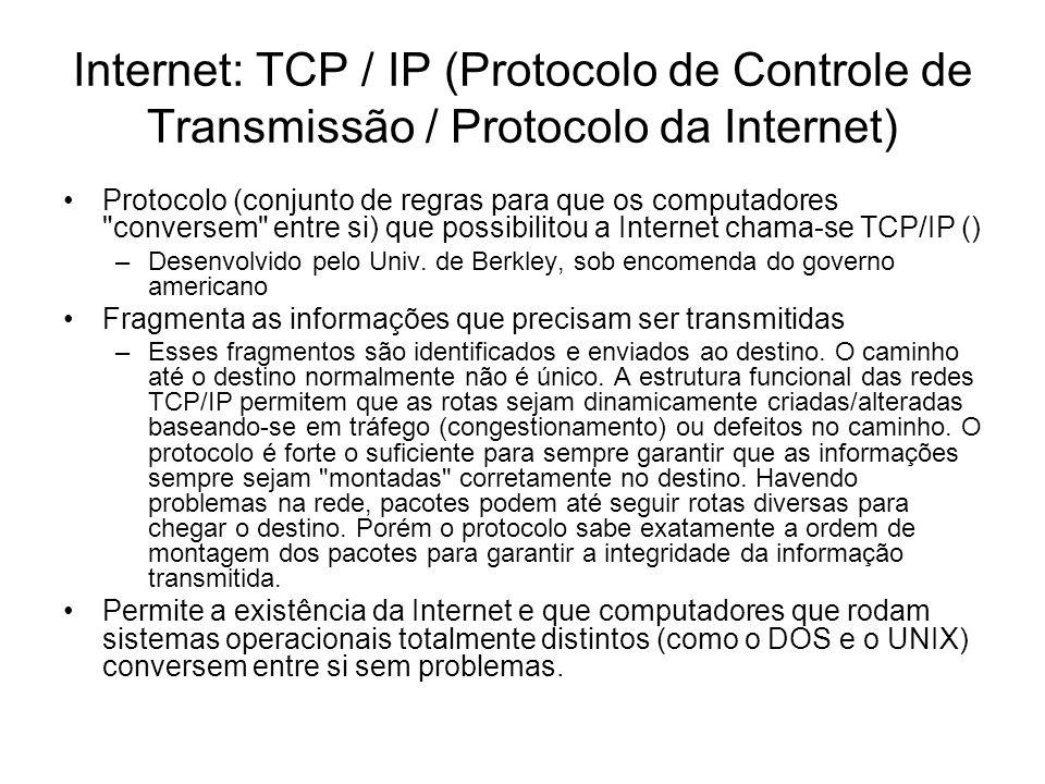 Internet: TCP / IP (Protocolo de Controle de Transmissão / Protocolo da Internet) Protocolo (conjunto de regras para que os computadores conversem entre si) que possibilitou a Internet chama-se TCP/IP () –Desenvolvido pelo Univ.