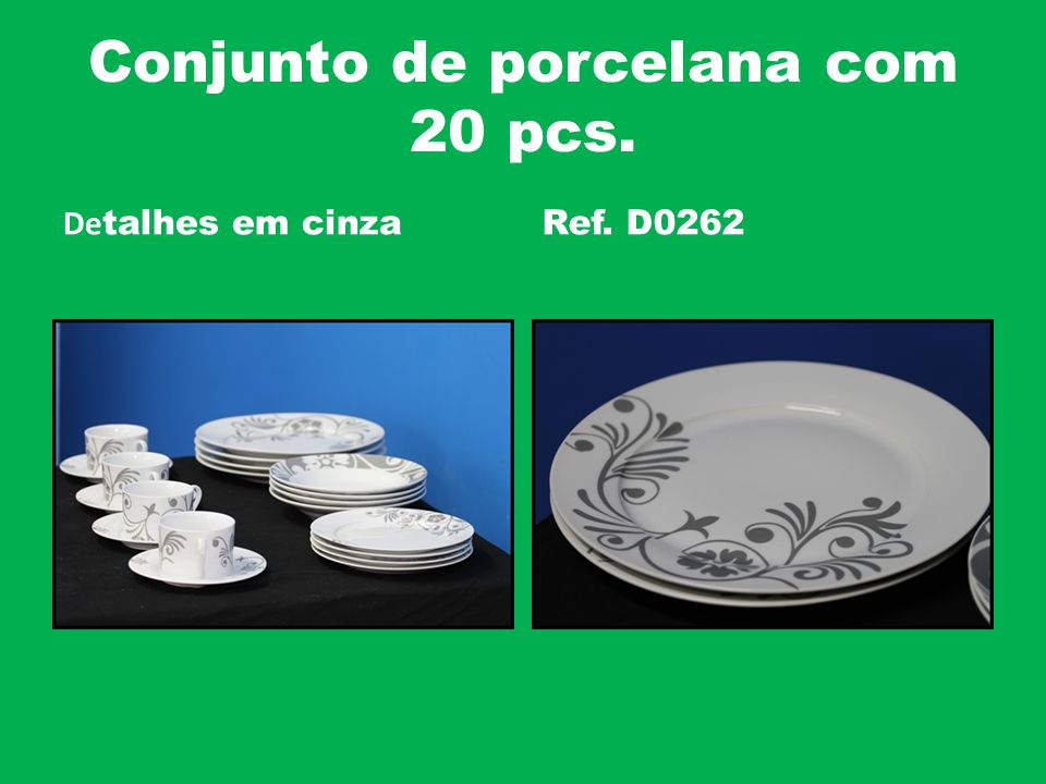 Conjunto de porcelana com 20 pcs. De talhes em cinzaRef. D0262