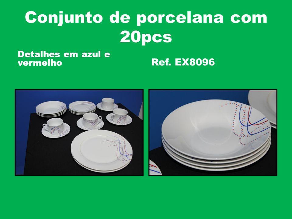 Conjunto de porcelana com 20pcs Detalhes em azul e vermelho Ref. EX8096