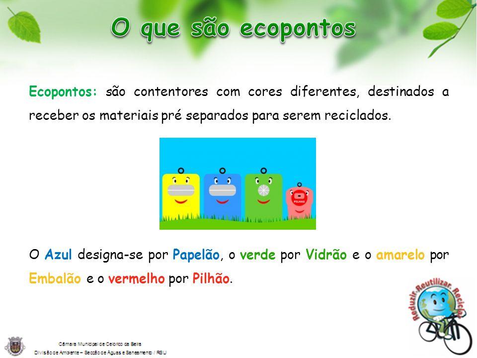 Ecopontos: são contentores com cores diferentes, destinados a receber os materiais pré separados para serem reciclados. O Azul designa-se por Papelão,