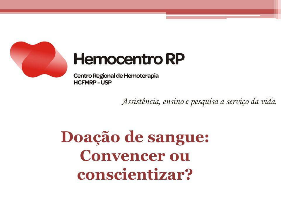 Assistência, ensino e pesquisa a serviço da vida. Doação de sangue: Convencer ou conscientizar?