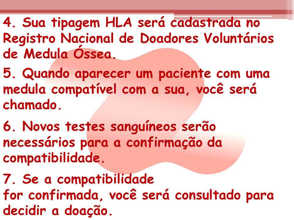 4. Sua tipagem HLA será cadastrada no Registro Nacional de Doadores Voluntários de Medula Óssea. 5. Quando aparecer um paciente com uma medula compatí