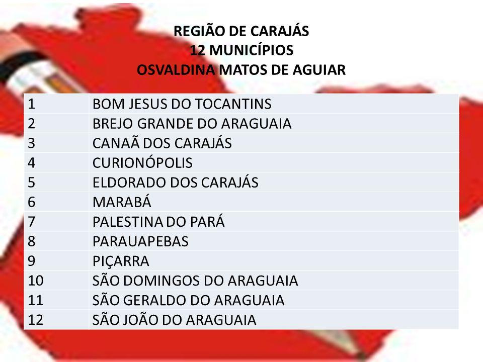 REGIÃO DE CARAJÁS 12 MUNICÍPIOS OSVALDINA MATOS DE AGUIAR 1 BOM JESUS DO TOCANTINS 2 BREJO GRANDE DO ARAGUAIA 3 CANAÃ DOS CARAJÁS 4 CURIONÓPOLIS 5 ELD