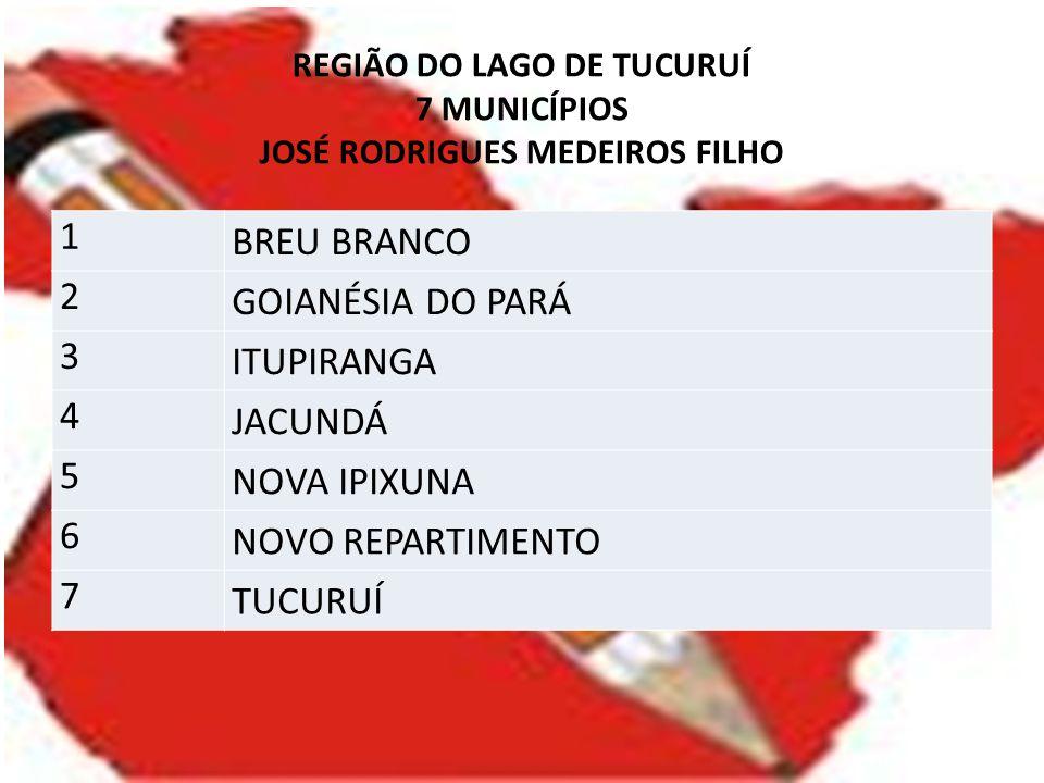 REGIÃO DO LAGO DE TUCURUÍ 7 MUNICÍPIOS JOSÉ RODRIGUES MEDEIROS FILHO 1 BREU BRANCO 2 GOIANÉSIA DO PARÁ 3 ITUPIRANGA 4 JACUNDÁ 5 NOVA IPIXUNA 6 NOVO RE