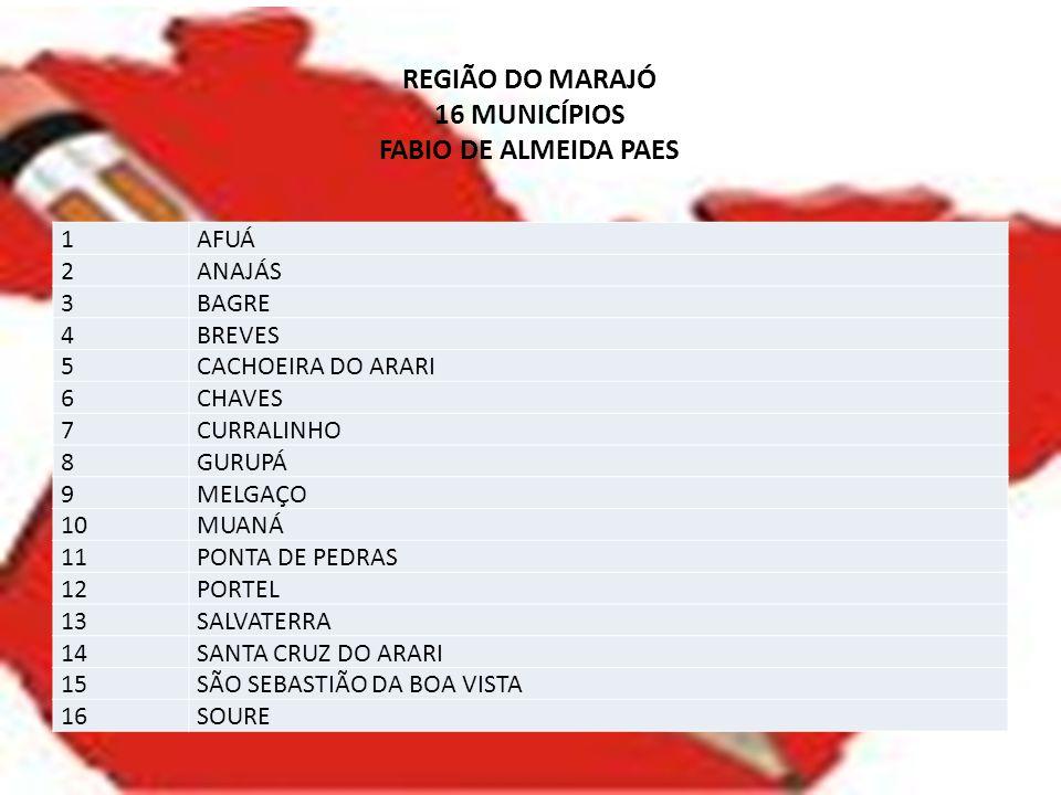 REGIÃO DO MARAJÓ 16 MUNICÍPIOS FABIO DE ALMEIDA PAES 1AFUÁ 2ANAJÁS 3BAGRE 4BREVES 5CACHOEIRA DO ARARI 6CHAVES 7CURRALINHO 8GURUPÁ 9MELGAÇO 10MUANÁ 11P