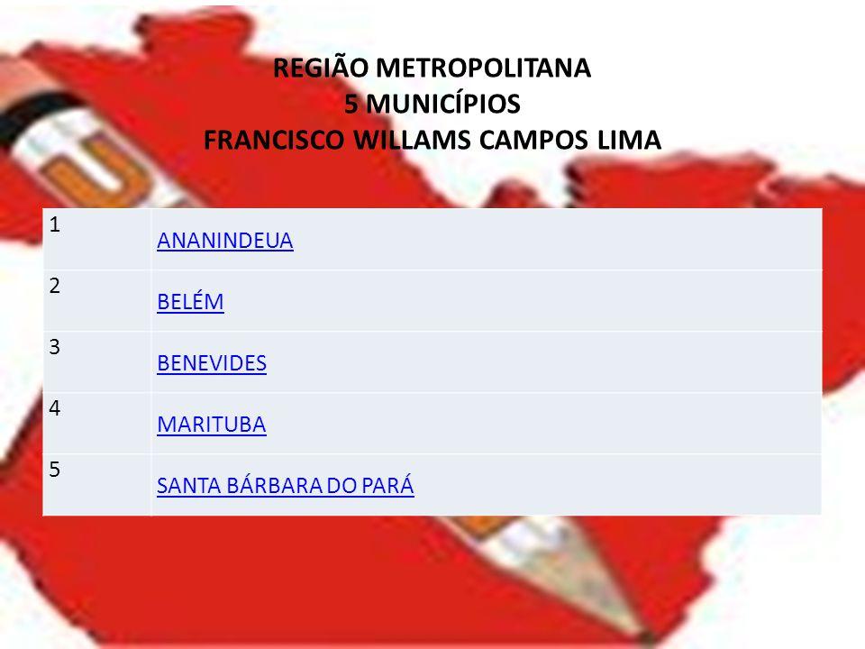 REGIÃO METROPOLITANA 5 MUNICÍPIOS FRANCISCO WILLAMS CAMPOS LIMA 1 ANANINDEUA 2 BELÉM 3 BENEVIDES 4 MARITUBA 5 SANTA BÁRBARA DO PARÁ