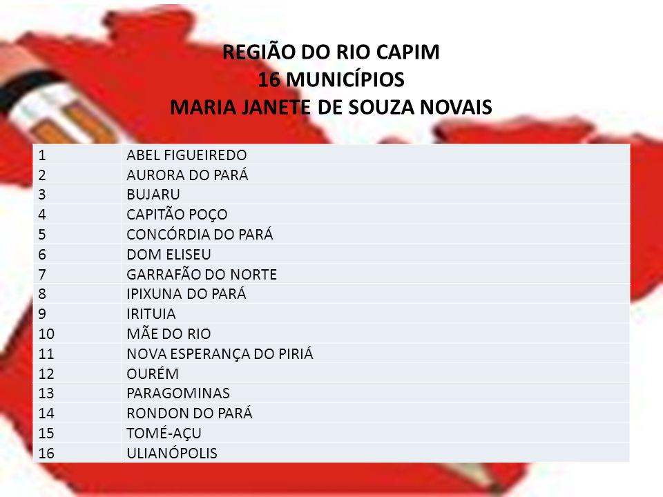 REGIÃO DO RIO CAPIM 16 MUNICÍPIOS MARIA JANETE DE SOUZA NOVAIS 1ABEL FIGUEIREDO 2AURORA DO PARÁ 3BUJARU 4CAPITÃO POÇO 5CONCÓRDIA DO PARÁ 6DOM ELISEU 7