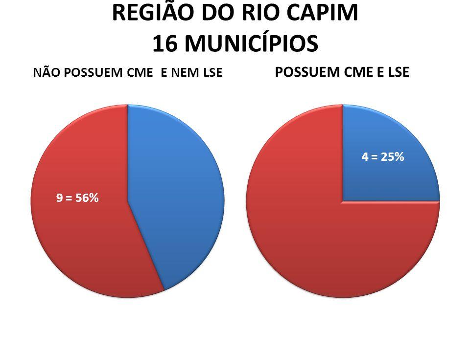 REGIÃO DO RIO CAPIM 16 MUNICÍPIOS NÃO POSSUEM CME E NEM LSE POSSUEM CME E LSE