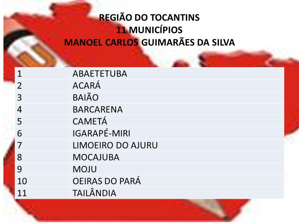 REGIÃO DO TOCANTINS 11 MUNICÍPIOS MANOEL CARLOS GUIMARÃES DA SILVA 1ABAETETUBA 2ACARÁ 3BAIÃO 4BARCARENA 5CAMETÁ 6IGARAPÉ-MIRI 7LIMOEIRO DO AJURU 8MOCA