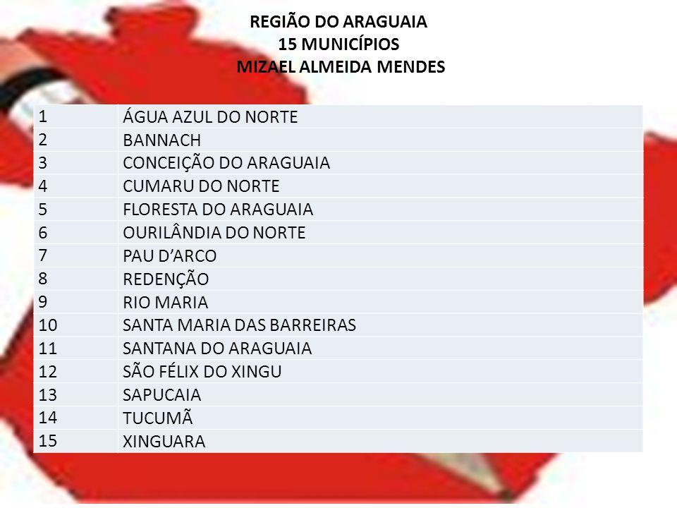 REGIÃO DO ARAGUAIA 15 MUNICÍPIOS MIZAEL ALMEIDA MENDES 1 ÁGUA AZUL DO NORTE 2 BANNACH 3 CONCEIÇÃO DO ARAGUAIA 4 CUMARU DO NORTE 5 FLORESTA DO ARAGUAIA