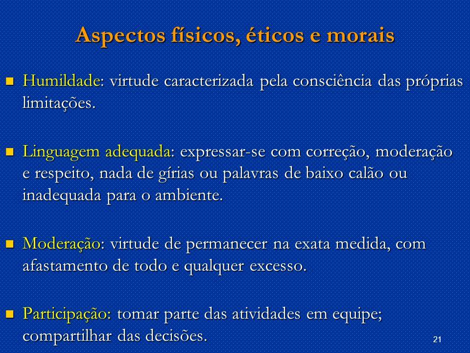 21 Aspectos físicos, éticos e morais Humildade: virtude caracterizada pela consciência das próprias limitações.