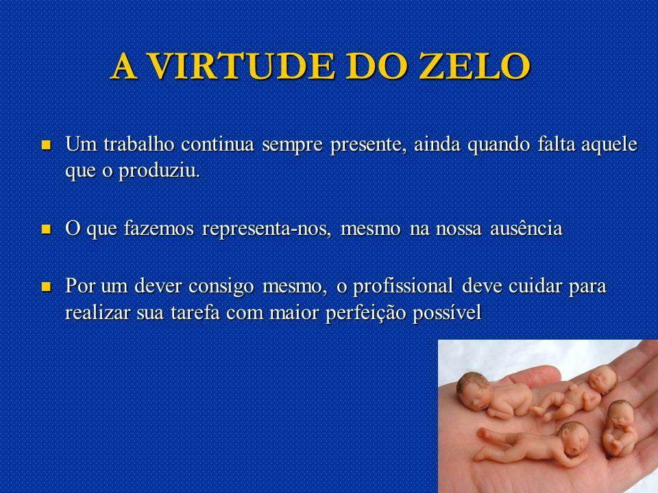 24 A VIRTUDE DO ZELO Um trabalho continua sempre presente, ainda quando falta aquele que o produziu.